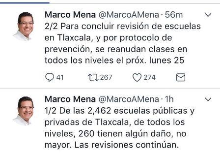 Clases en escuelas tlaxcaltecas se reanudarán el lunes 25