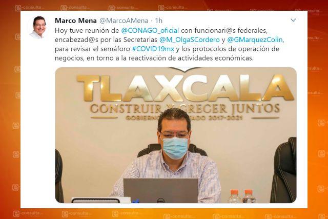 Revisa Marco Mena con funcionarios federales semáforo epidemiológico de Covid-19