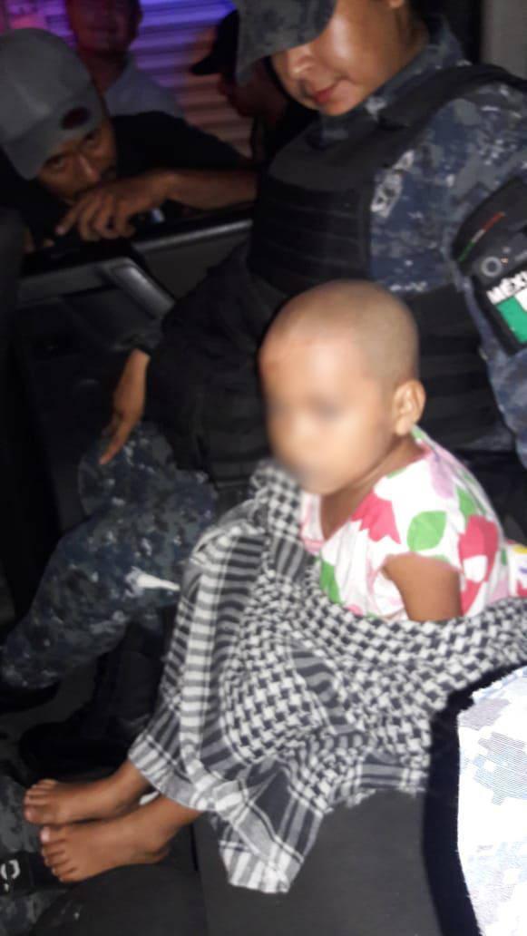 División de Gendarmería localizó a menor de 3 años de edad desaparecida en Acapulco