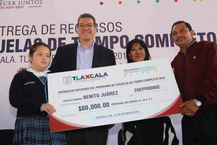 Para mejorar 533 escuelas, Marco Mena entrega 42.8 mdp