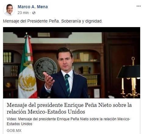 Respalda Marco Mena postura del Presidente Peña Nieto