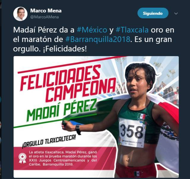 Felicita Marco Mena a Madaí Pérez por su medalla de oro en Barranquilla 2018