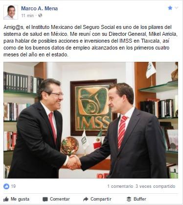Se reúne Marco Mena con el Director General del IMSS