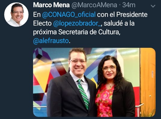 Gobernador Mena si quiere en Tlaxcala a la Secretaría de Cultura