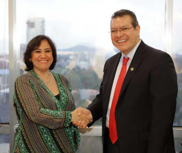 Marco Mena se reúne con Irma Sandoval, Secretaria de la Función Pública