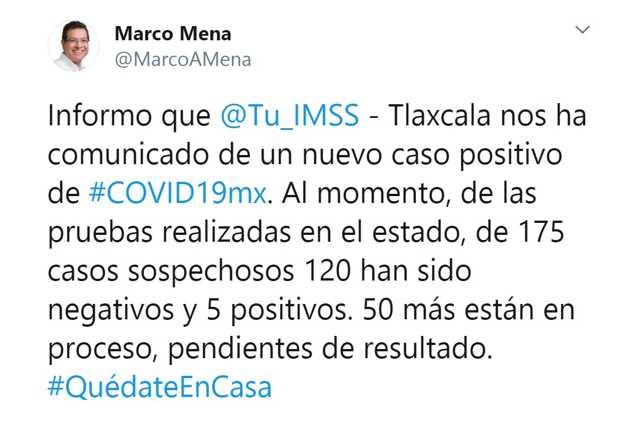 Confirma SESA quinto caso de Covid-19 en Tlaxcala