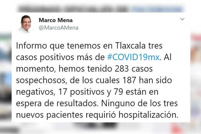 Confirma SESA tres casos más de Covid-19 en Tlaxcala