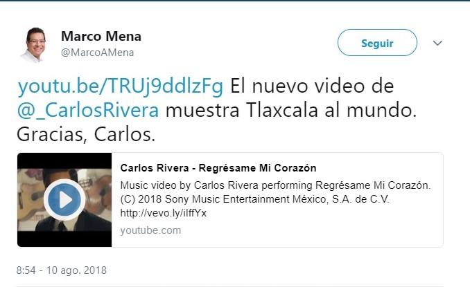 Video de Carlos Rivera muestra Tlaxcala al mundo: Marco Mena