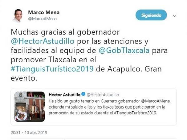 Agradece Mena a su homólogo de Guerrero respaldo para promover a Tlaxcala en Tianguis Turístico