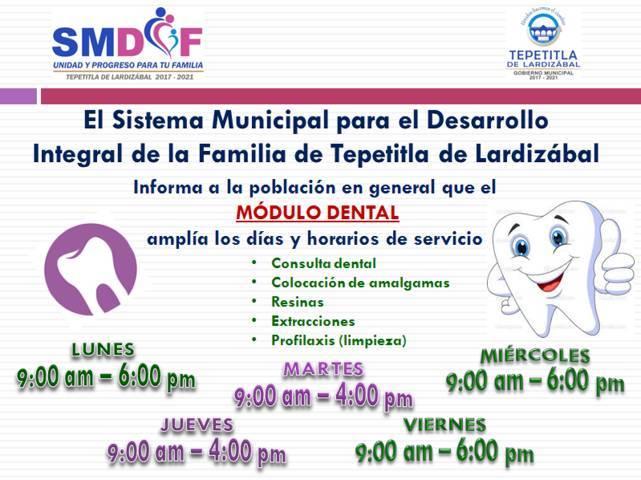 Amplía SMDIF de Lardizábal días y horario de atención del Módulo Dental