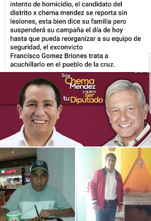"""Nuevo atentado político en Tlaxcala; es contra """"Chema Méndez"""" de Morena"""