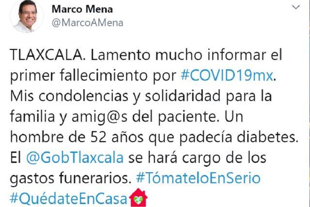 Tlaxcala registra primer fallecimiento por Covid-19