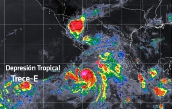 Se formó la Depresión Tropical 13-E al sur de Baja California Sur