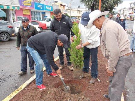 Ayuntamiento de Nanacamilpa reforesta áreas  verdes