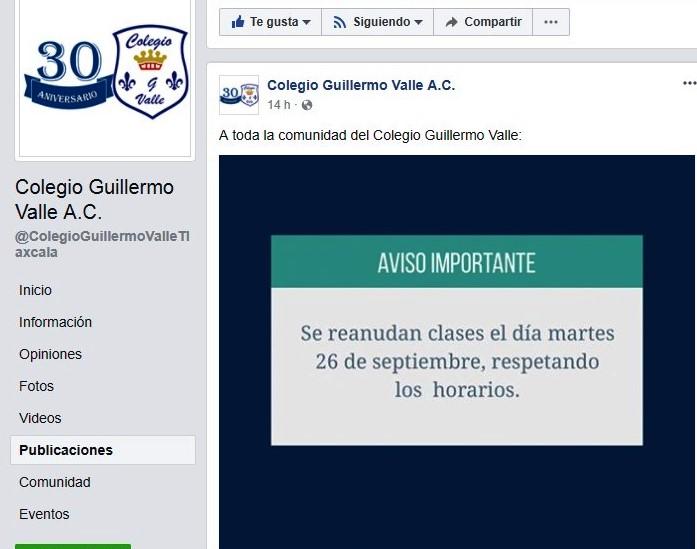 Exhaustiva la revisión del Colegio Guillermo Valle; abre hasta el martes