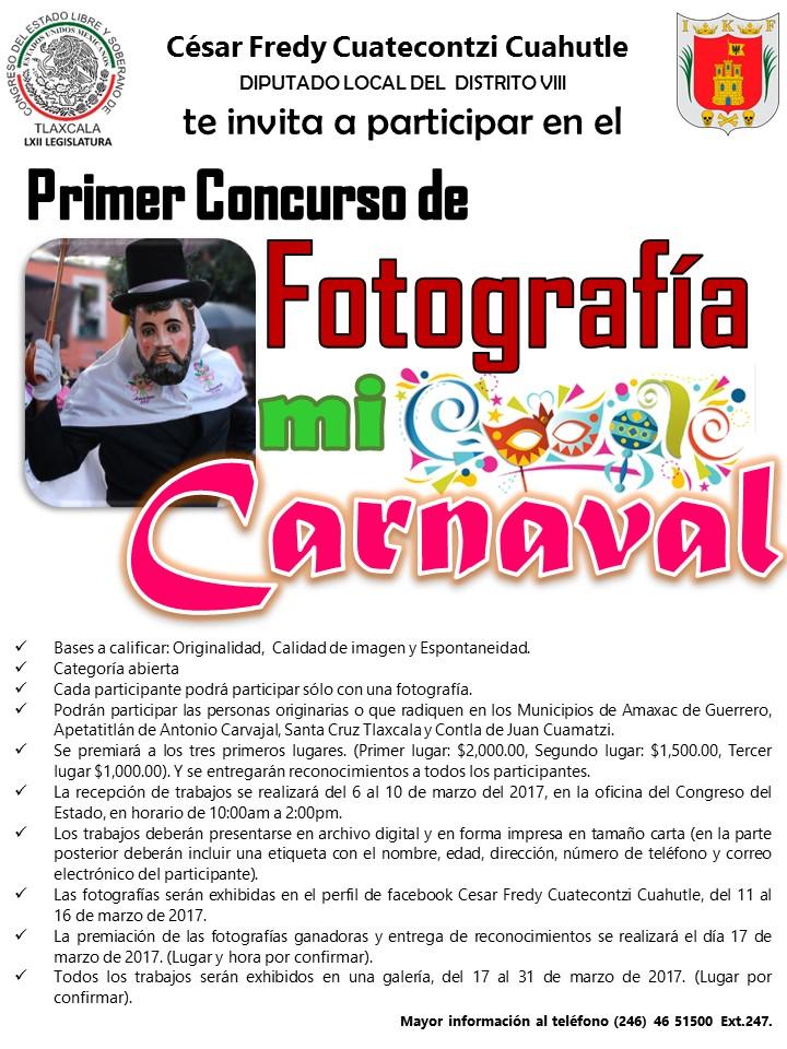 """Diputado premiará concurso de fotografía  """"Mi carnaval"""""""