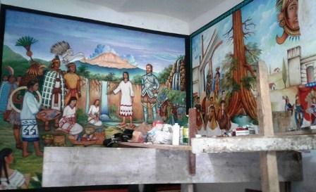 Realizan pintores de Contla primer mural histórico en Amaxac