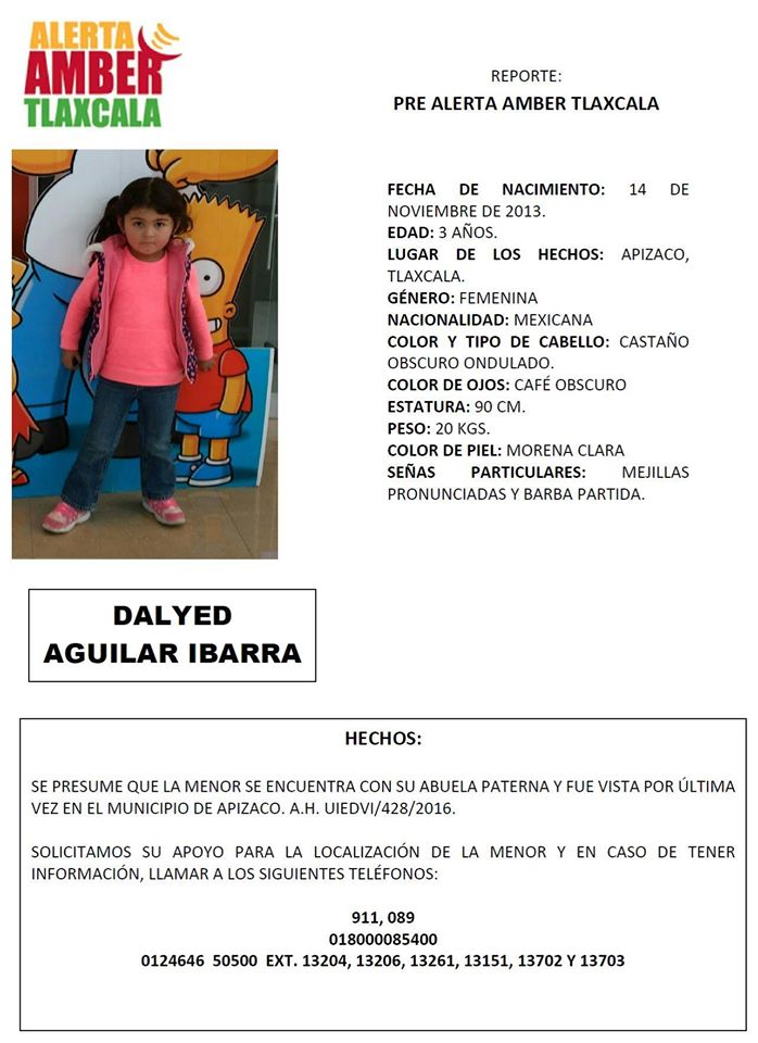 Buscan a niña desaparecida en Apizaco