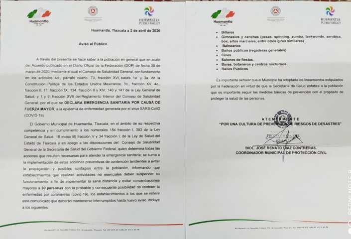 Gobierno de Huamantla notificó a más de 50 negocios para que acaten disposiciones por COVID-19
