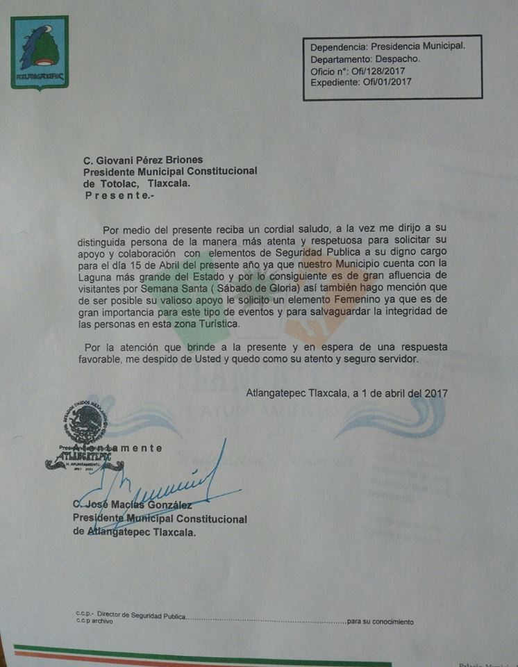 La Policía de Totolac se encontraba trabajando en Atlangatepec