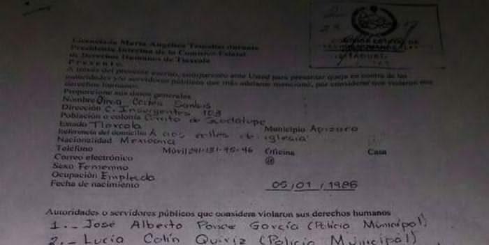 Denuncian ante Derechos Humanos a policías de Apizaco