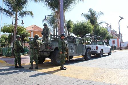 Reforzarán militares la seguridad en Papalotla por periodos largos