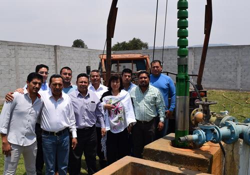 Encabeza edil de Panotla instalación de bomba agua en La Virgen
