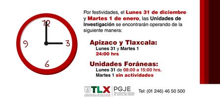 El 1 de enero la PGJE recibirá sólo denuncias en Tlaxcala y Apizaco