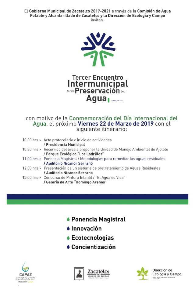 Hoy arranca el 3er encuentro Intermunicipal para la Preservación del Agua