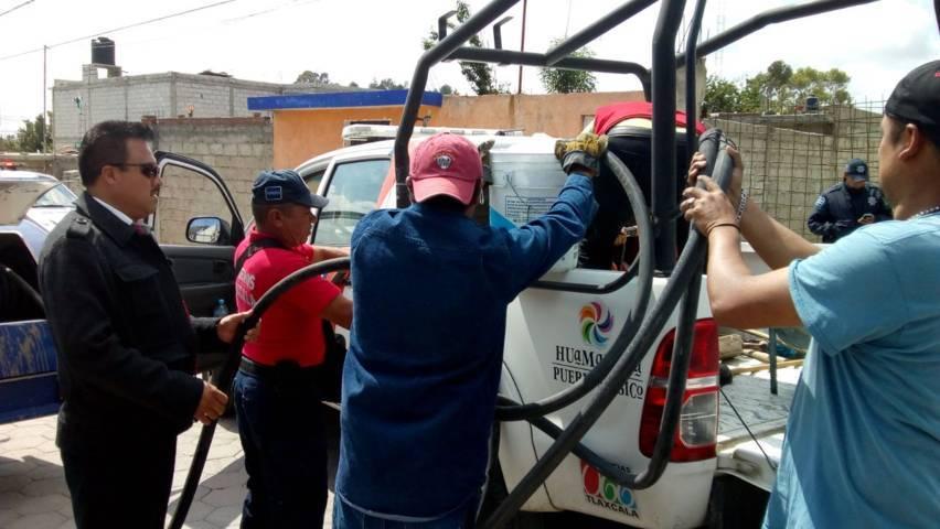 Protección Civil municipal controla fuga en camión repartidor de gas la providencia
