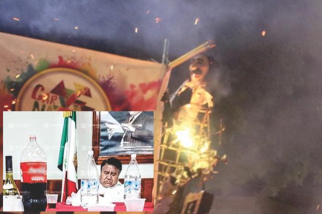 En Chiautempan le prendieron fuego a Rubén Pluma por alcalde gandalla