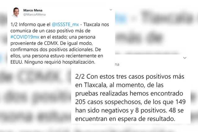 Confirma SESA tres casos nuevos de Covid-19 en Tlaxcala
