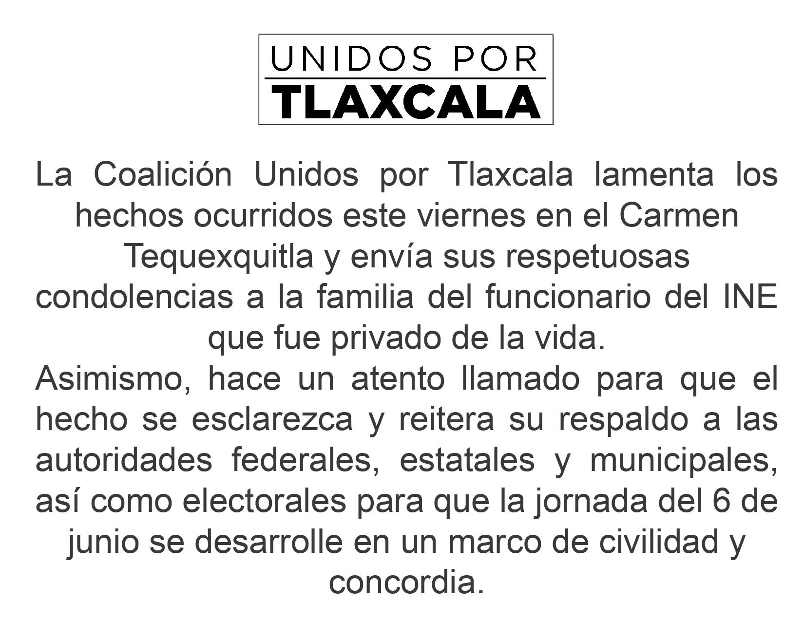 Coalición Unidos por Tlaxcala lamenta asesinato de empleado del INE