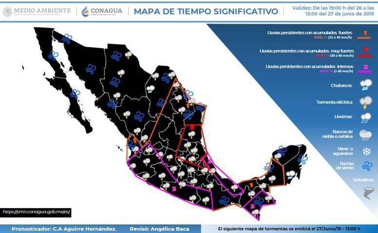 Se prevén intervalos de chubascos para el día de hoy en Tlaxcala