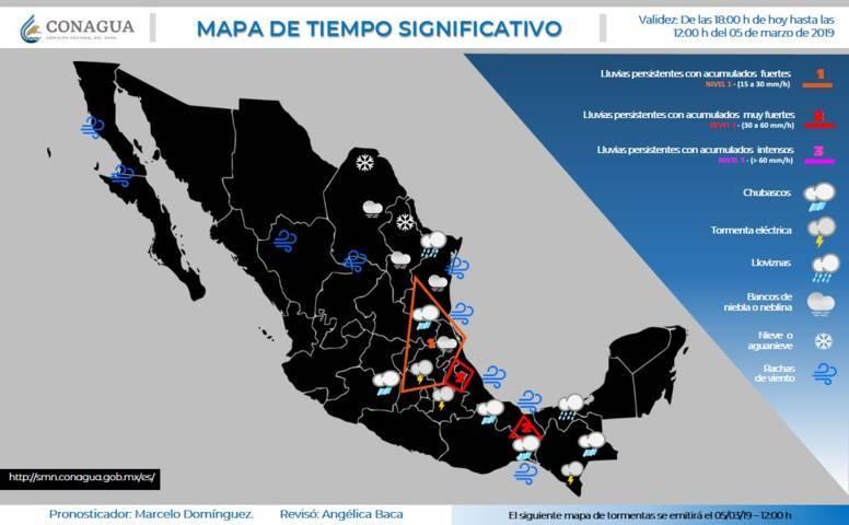 Para las próximas horas se pronostican tormentas intensas en Chiapas, Veracruz y Tabasco