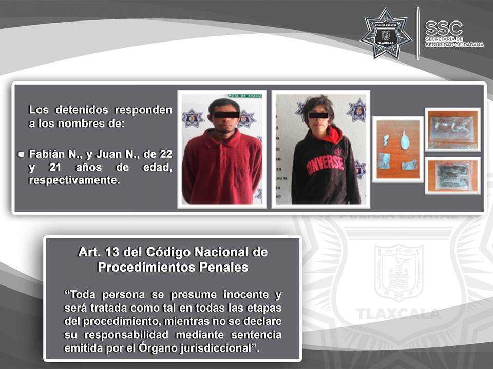 La SSC detiene en Xaloztoc a dos sujetos por posesión de sustancias ilegales