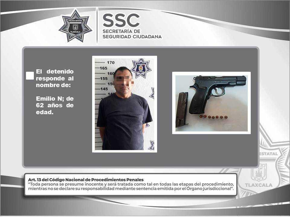 Detienen en Calpulalpan a una persona por la portación ilegal de un  arma de fuego