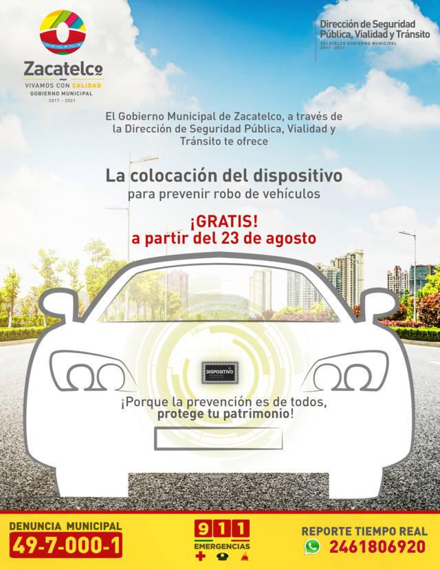 Ayuntamiento coloca dispositivos de seguridad en automóviles y camionetas