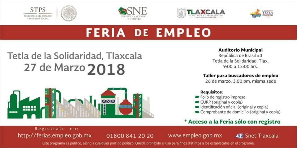 Se realizará Feria del Empleo en Tetla de la Solidaridad