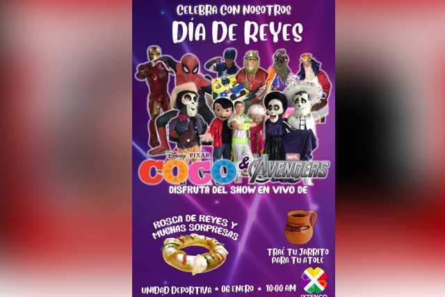 En Ixtenco celebrarán día de reyes con show en vivo de Coco y Avengers