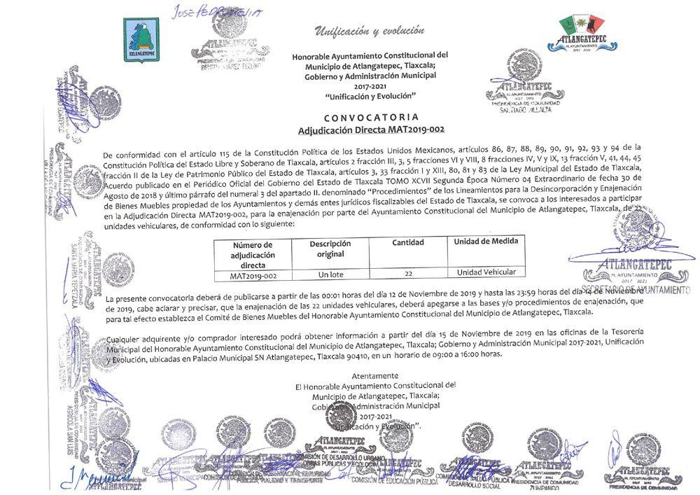 Convocatoria para Adjudicación Directa MAT2019-002 en Atlangatepec