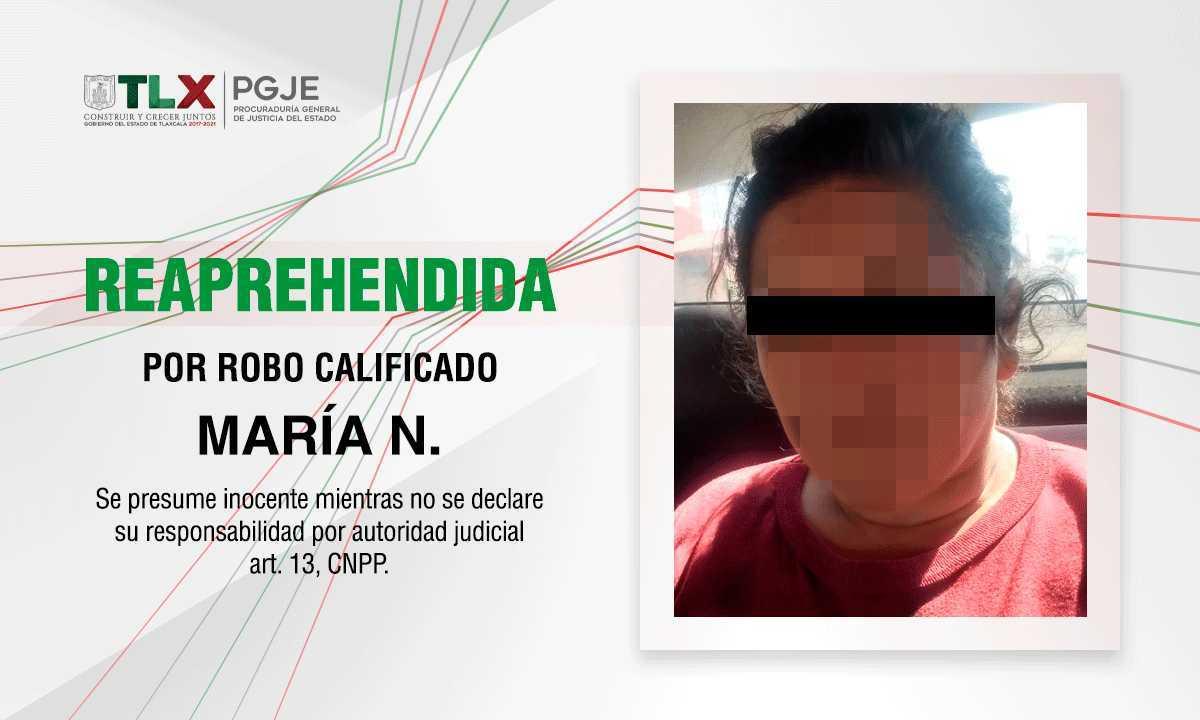 Reaprehenden procuradurías de Tlaxcala e Hidalgo a imputada por robo calificado