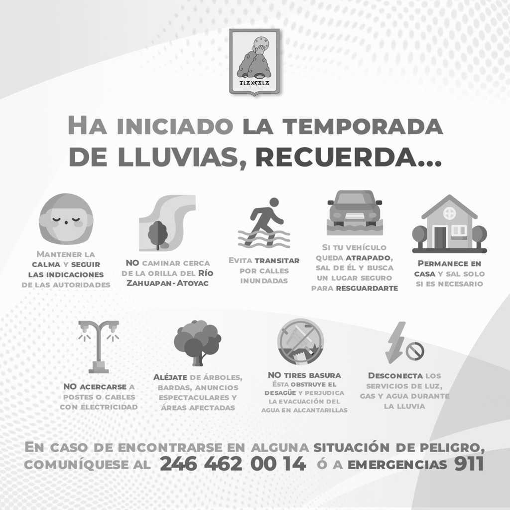 Difunde Protección Civil de la capital recomendaciones por lluvias