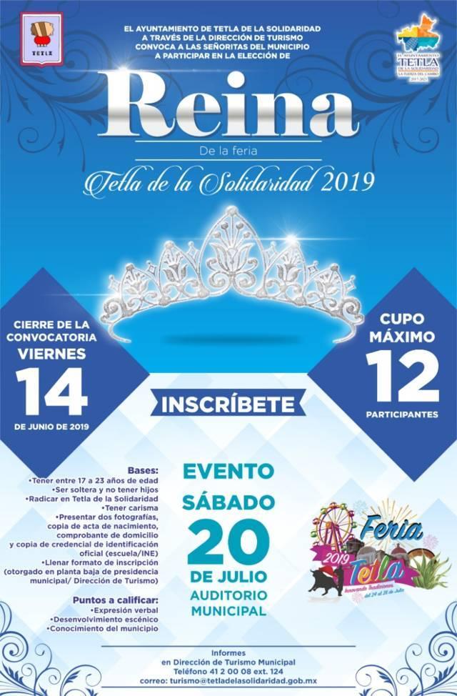 Ayuntamiento abre convocatoria para elegir su reina de feria Tetla 2019