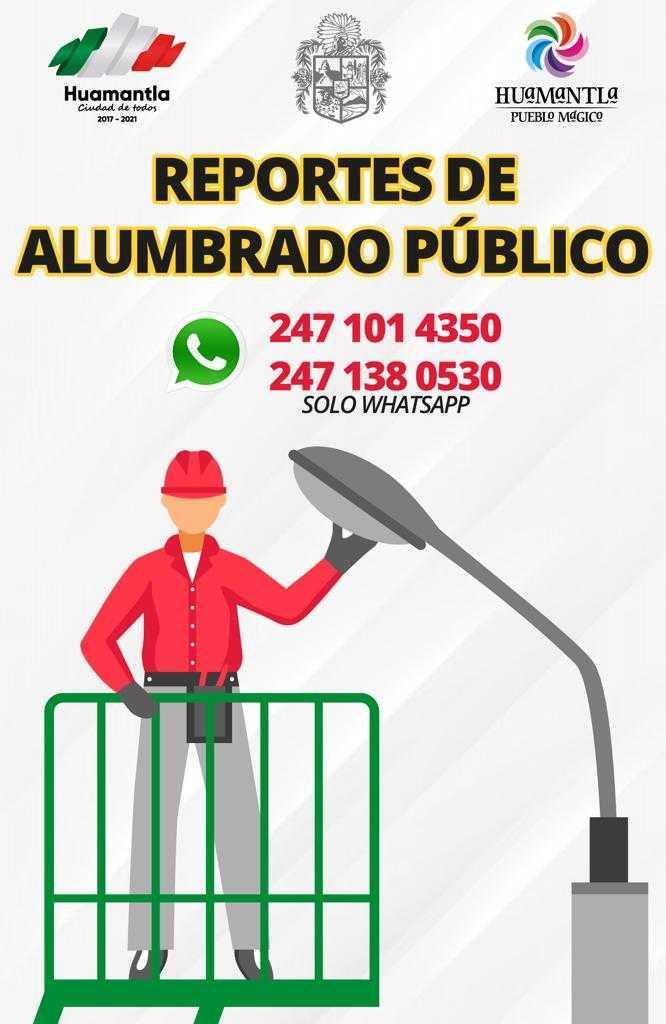 Gobierno de Huamantla habilita números telefónicos para reportar fallas en alumbrado público