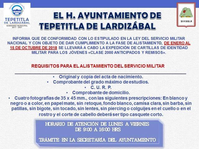 Gobierno de Lardizábal invita a jóvenes realizar su trámite de cartilla de identidad militar