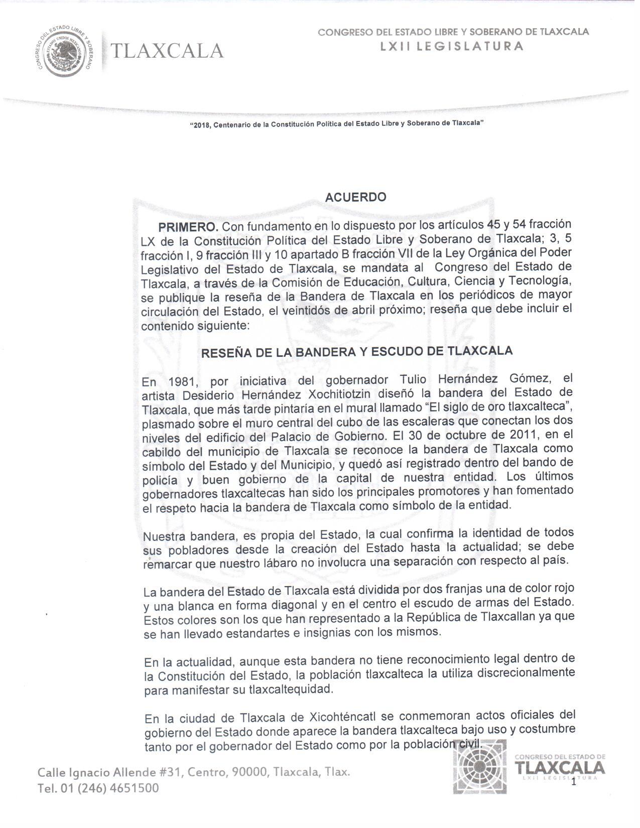 Reseña histórica de la bandera y escudo de Tlaxcala
