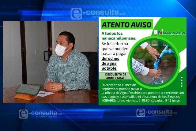 Ayuntamiento de Nanacamilpa inicia plan de descuentos en agua potable por COVID-19