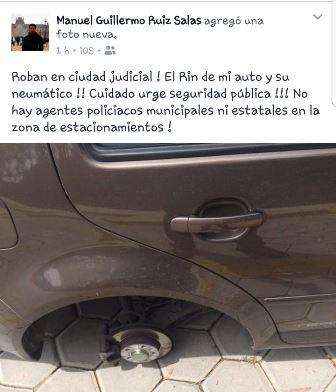 Denuncian robo de llanta de automóvil en Ciudad Judicial