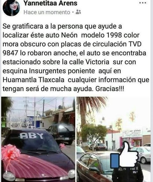 Le roban su auto y ofrece lana en Facebook para encontrarlo